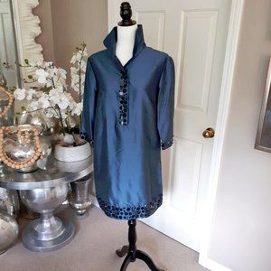 NWOT Mac & Jac blue, black embellished tunic dress